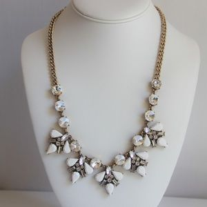 J Crew Gold, White, Clear Angle Wing Necklace